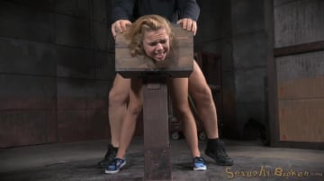 Alina West - Blue eyed blonde Alina West bolted into a wooden box and roughly fucked by BBC, drooling deepthroat!
