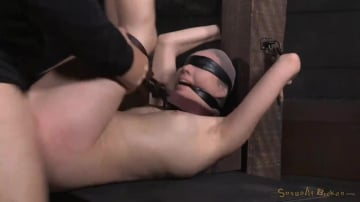 Aria Alexander - Pale beauty Aria Alexander blindfolded and tag team fucked by hard cock while strictly restrained!