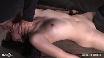 Aria Alexander - Sexy beauty Aria Alexander shackled to sybian and throat trained by two hard cocks!