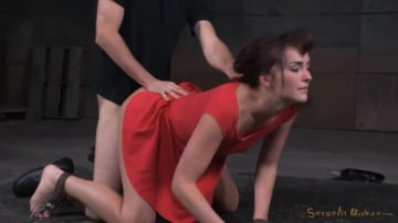 Bianca Breeze - Brunette Bianca Breeze bound doggystyle with rough three way sex and brutal drooling deepthroat!