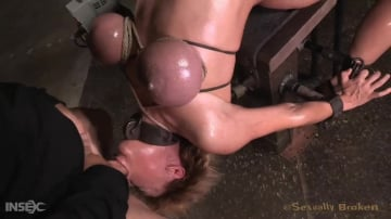 Darling - Darling drooling and deepthroating BBC cock while restrained on fucking machine and pounded anally!