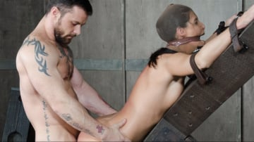 India Summer - Hot MILF India Summer's is strapped to and 'X' frame, hooded, gagged, and brutally fucked!