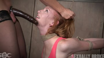 Katy Kiss - Katy Kiss the sexy tall redhead, is severely bound, deepthroated and brutally fucked into darkness.