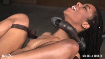 Kira Noir - Toned Kira Noir restrained in metal pipes and belt bondage, taken from ends by big dick!