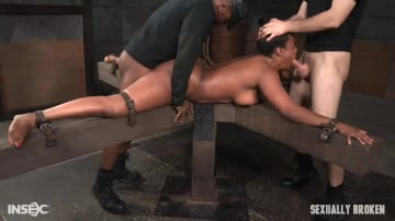 Lisa Tiffian - Big butt beauty Lisa Tiffian belt bound ass up face down and taken from both ends by two dicks!