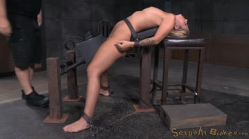 Madelyn Monroe - Sexy blonde Madelyn Monroe bound on a sybain and utterly destroyed by dick! Brutal deepthroat!