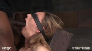 Mona Wales - All natural stunner Mona Wales takes on 3 cocks blindfolded and shackled onto a vibrator!