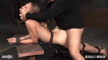 Mona Wales - Beautiful Mona Wales belt bound, shackled and throat trained into a drooling mess with epic fucking!