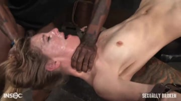 Mona Wales - Lean all natural Mona Wales bound in inverted tie and dicked down without mercy by 3 cocks!