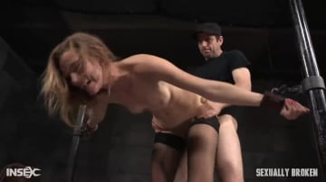 Mona Wales - Toned all natural Mona Wales shackled onto sybian, dynamic shifting bondage with epic deepthroat!