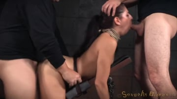 Nikki Knightly - Nubile newbie Nikki Knightly bound down and roughly fucked, taken from both ends by hard cock!