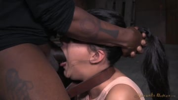 Paisley Parker - Cute brunette Paisley Parker blindfolded in strict bondage, vibrated while deepthroating BBC!