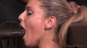 Stevie Smith - Tan Stevie Smith shackled to sybian in breast bondage and facefucked by BBC into a drooling mess!