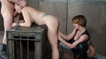 Angel Allwood に 'is brutally fucked while completely bound and helpless, deep throated and abused!'