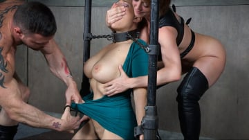 Angel Allwood - Angel Allwood is neck bound on a Sybian and throat fucked while violently cumming over and over!