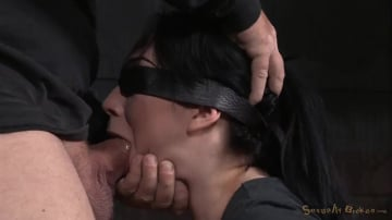 Aria Alexander - Stunning starlet Aria Alexander blindfolded and roughly fucked with brutal drooling deepthoat!