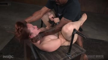 Bella Rossi - Busty Bella Rossi BaRS show grand finale with strict metal bondage and epic 3 cock dickdown!