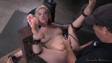 Cherry Torn - Pale skinned busty blonde Cherry Torn restrained in fuck me position and used hard by big dick!