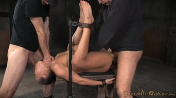 Kalina Ryu in 'Unbreakable Kalina Ryu restrained and roughly fucked by two cocks with messy drooling deepthroat!'