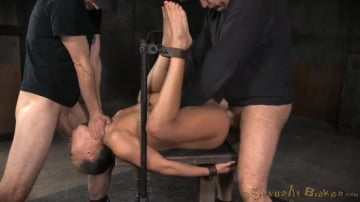 Kalina Ryu - Unbreakable Kalina Ryu restrained and roughly fucked by two cocks with messy drooling deepthroat!