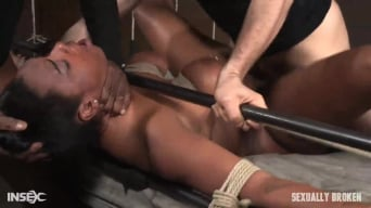 Lisa Tiffian in 'Curvy Lisa Tiffian bound down in rope onto bed and roughly fucked by 2 cocks, epic BBC deepthroat!'