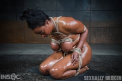 Lisa Tiffian - Oiled down Lisa Tiffian worships two big cocks with drooling deepthroat, strict rope bondage! (Thumb 15)