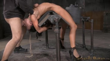 London River - Flexible London River bound to a sybian in a brutal backarch and throatboarded by hard cock!