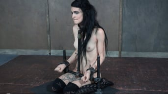 Lydia Black in 'ALT beauty locked into the perfect slave position with hard metal, while two cock ravish her throat!'