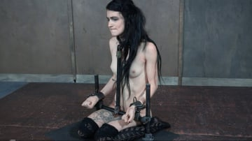 Lydia Black - ALT beauty locked into the perfect slave position with hard metal, while two cock ravish her throat!