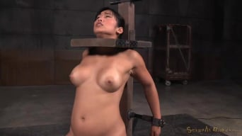Mia Li in 'Busty Asian Mia Li shackled to sybian and throatboarded without mercy by two hard cocks!'