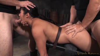 Mia Li in 'Busty Mia Li belted down onto the Sexuallybroken training board, fucked into drooling destruction!'
