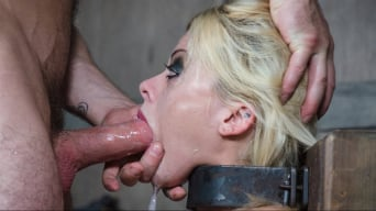 Nadia White in 'is severely bound in metal, completely helpless on a sybian. Brutal throat boarding!'